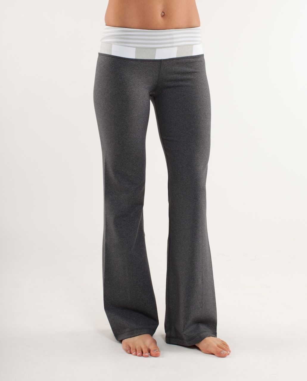 Lululemon Groove Pant (Regular) - Heathered Deep Coal /  Silver Spoon White Narrow Bold Multi Stripe /  White Silver Spooi