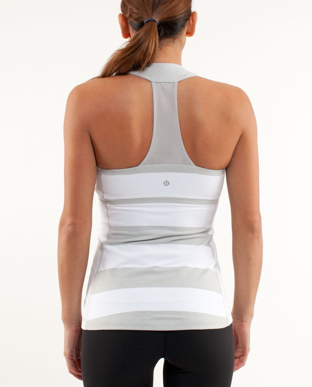 Lululemon Scoop Neck Tank - White Silver Spoon Wide Bold Multi Stripe /  Heathered Blurred Grey