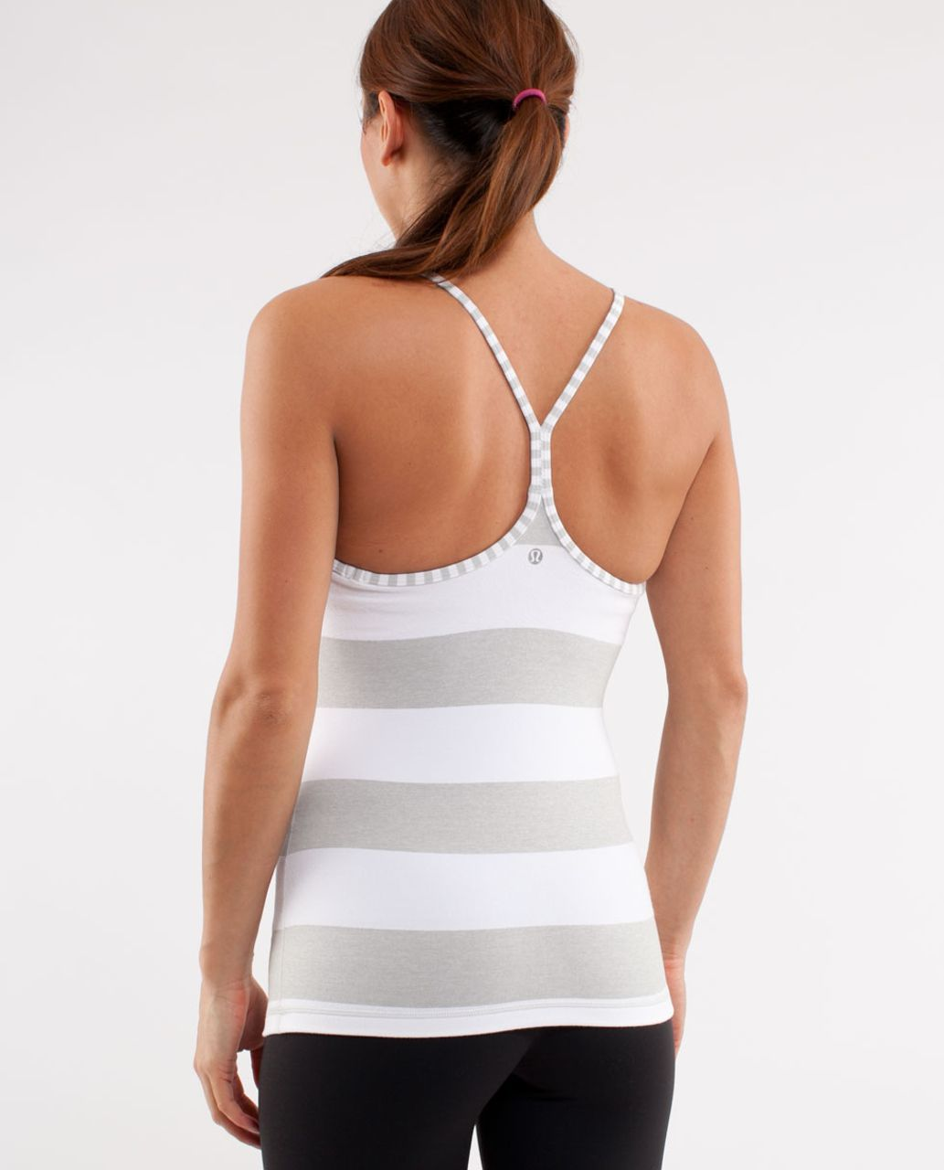 Lululemon Power Y Tank - White Silver Spoon Wide Bold Multi Stripe