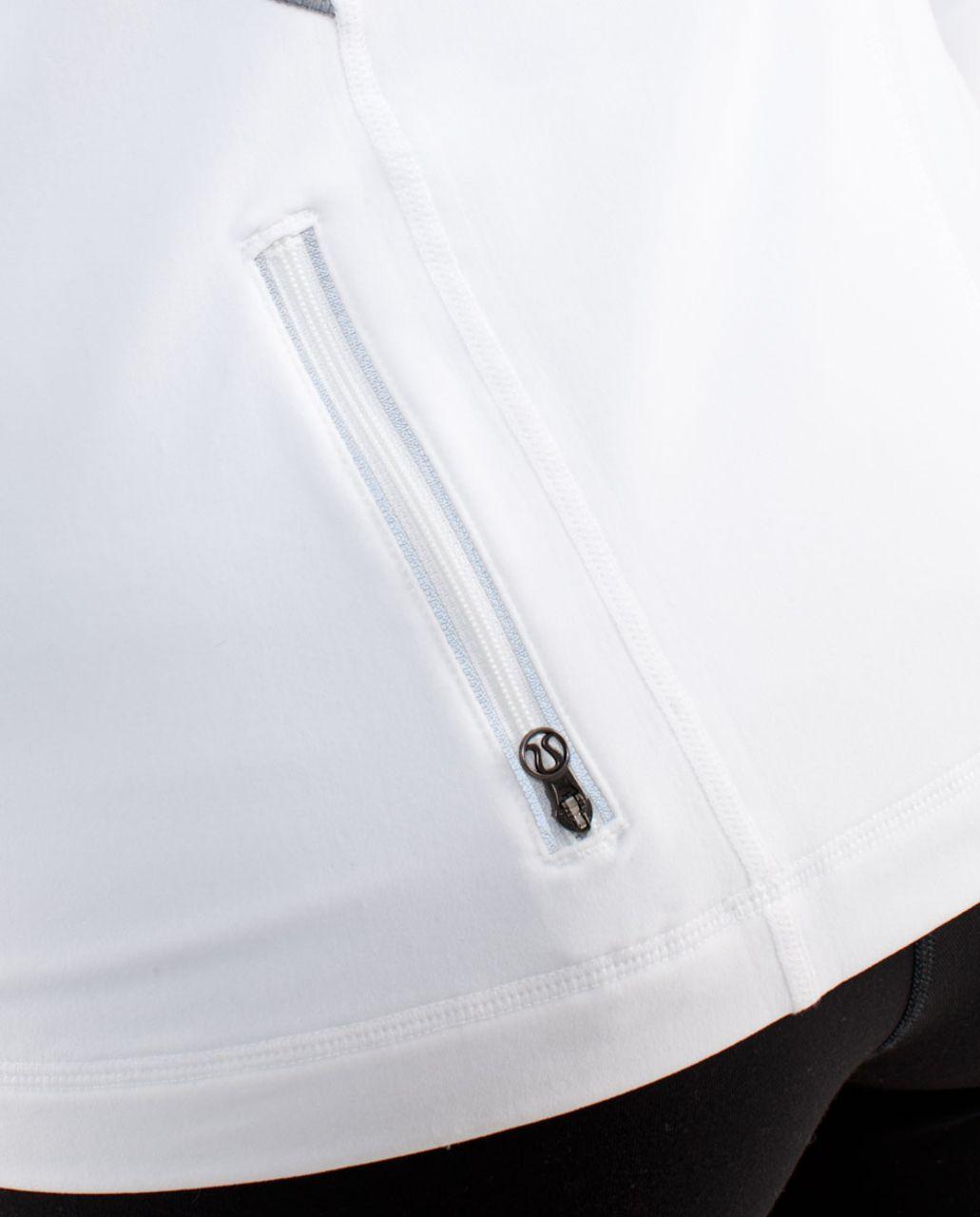 Lululemon Run:  Distance Pullover - White /  Heathered Blurred Grey