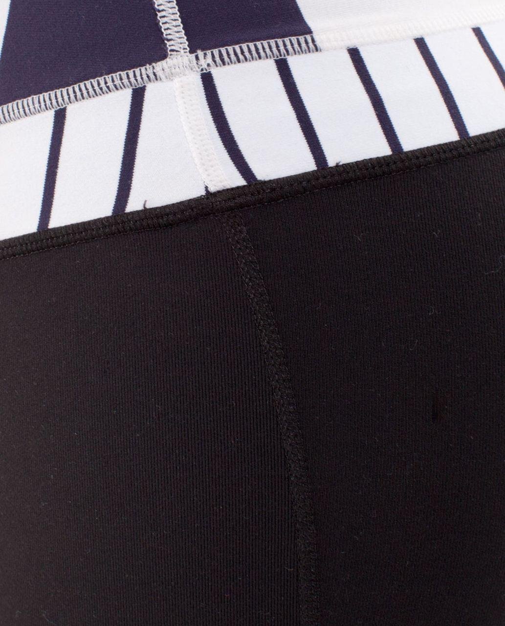 Lululemon Groove Crop - Black /  Wide Bold Stripe White Deep Indigo /  Quiet Stripe White Deep Indigo