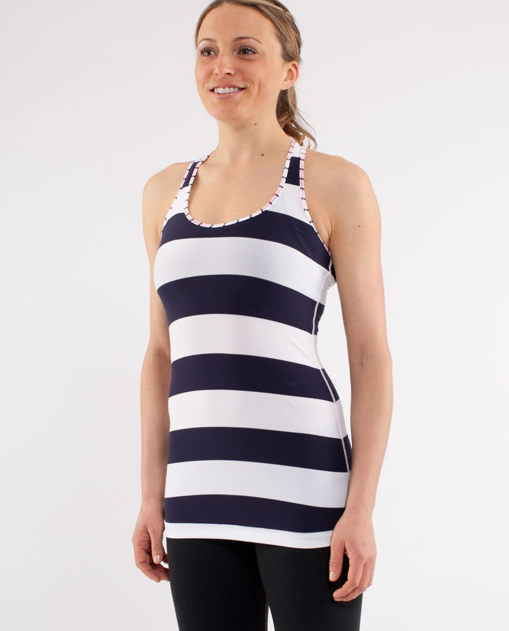 Lululemon Cool Racerback - Wide Bold Stripe White Deep Indigo /  Quiet Stripe White Deep Indigo (Striped Contrast)