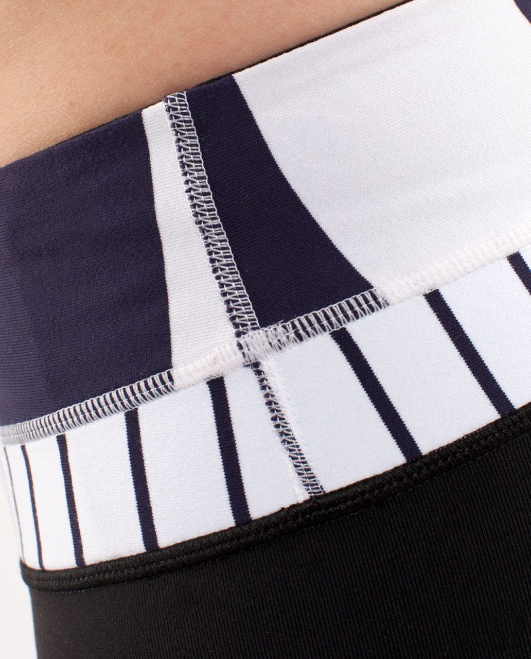 Lululemon Reverse Groove Short *Regular - Black /  Wide Bold Stripe White Deep Indigo /  Quiet Stripe White Deep Indigo