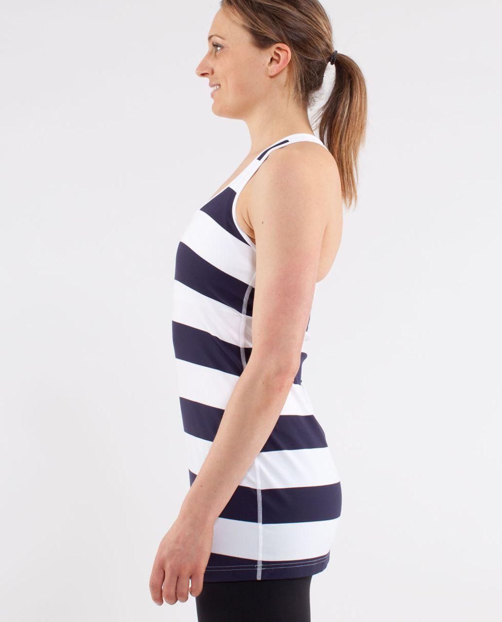 Lululemon Cool Racerback - Wide Bold Stripe White Deep Indigo /  Quiet Stripe White Deep Indigo (White Contrast)