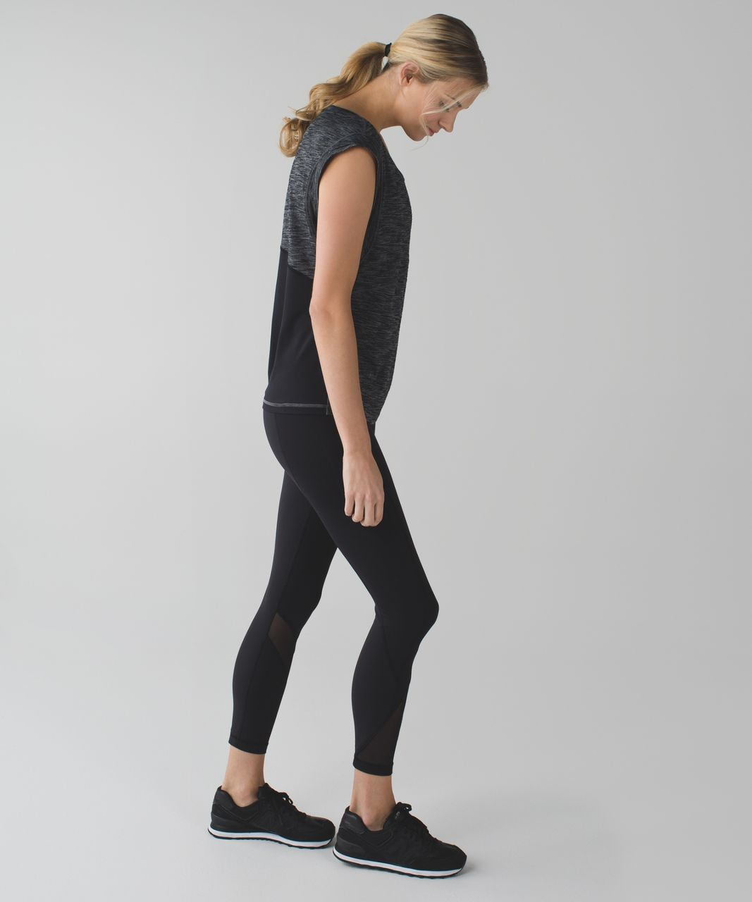 Lululemon Get Sweat Tee - Heathered Black / Black