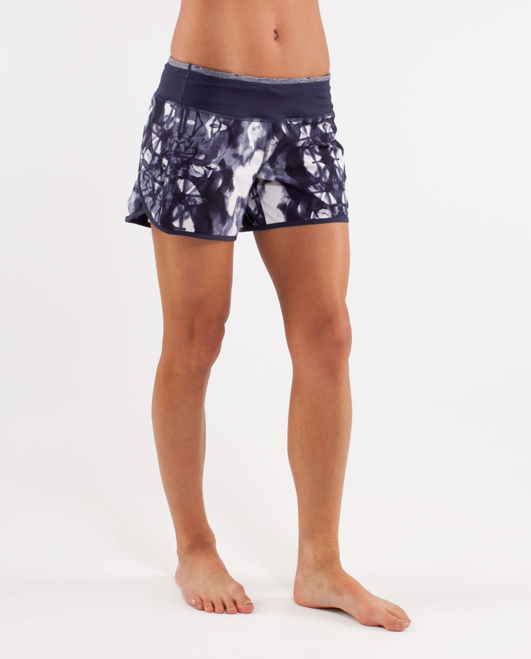 Lululemon Turbo Run Short - Ink Blot White Deep Indigo /  Deep Indigo