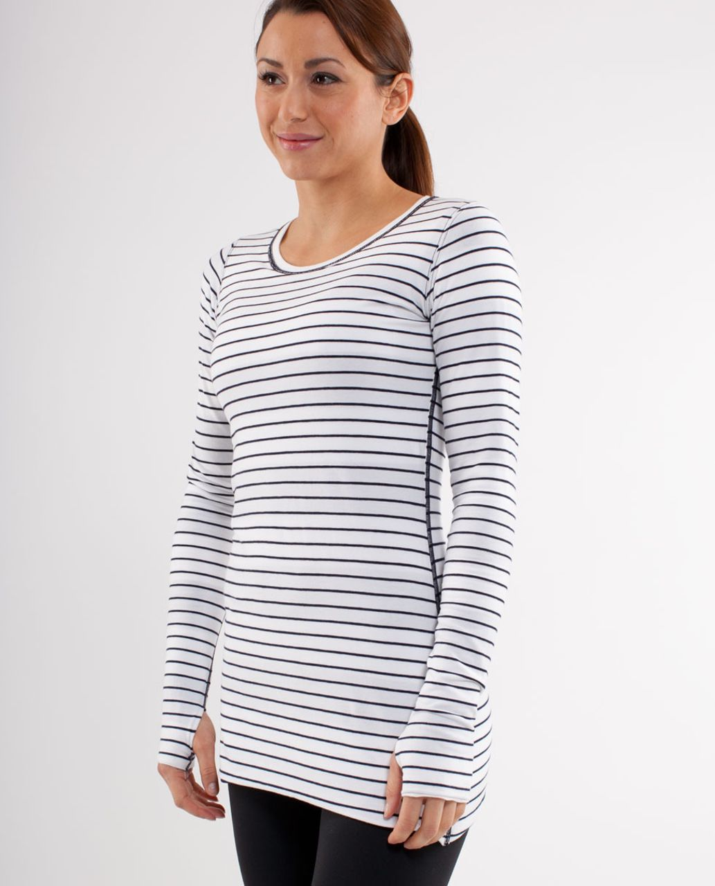 Lululemon Every Yogi Long Sleeve - Wide Bold Stripe White Deep Indigo /  Quiet Stripe White Deep Indigo