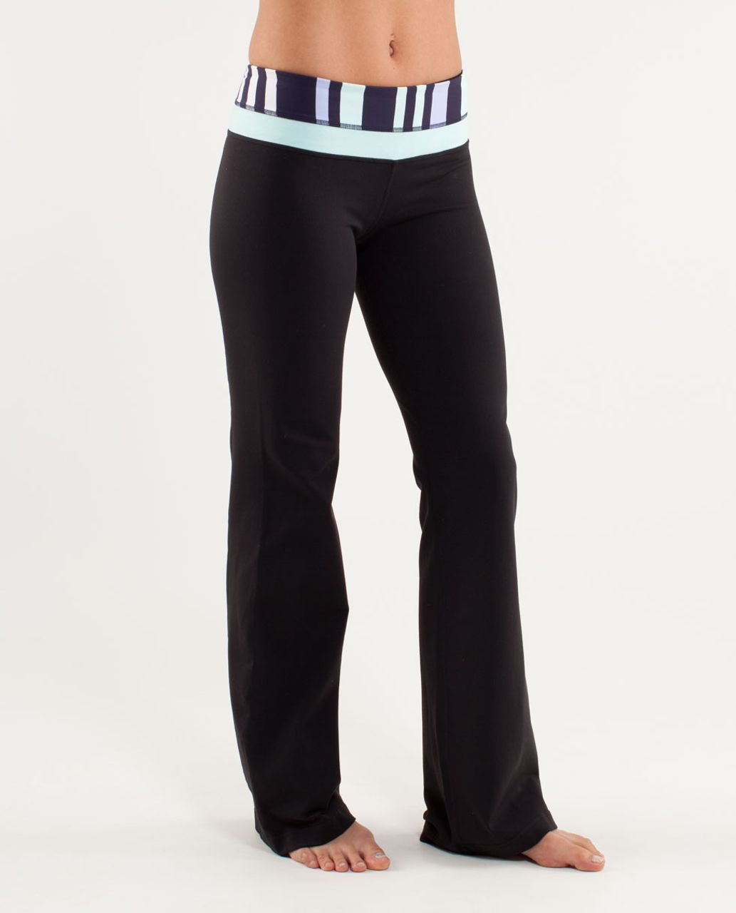 Lululemon Groove Pant (Tall) - Black /  Discover Stripe White Deep Indigo /  Heathered Aquamarine