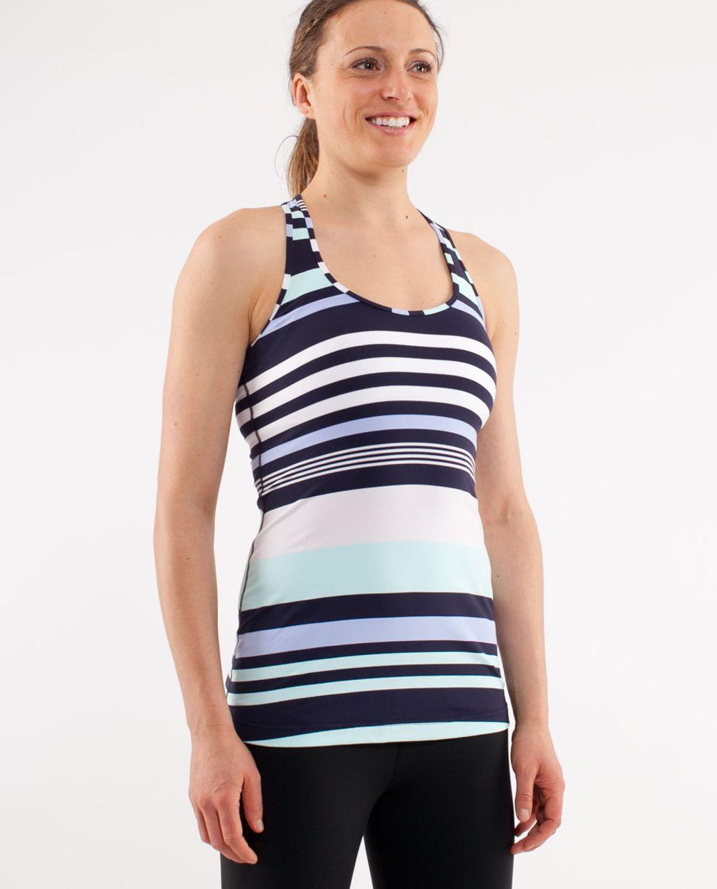 Lululemon Cool Racerback - Discover Stripe White Deep Indigo