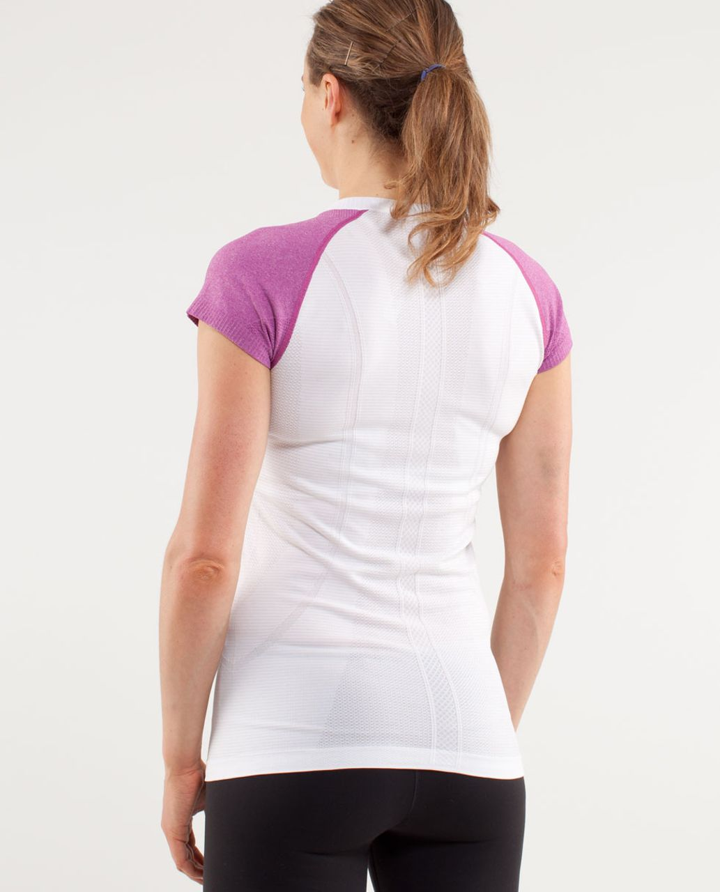 Lululemon Run:  Swiftly Tech Short Sleeve - White /  Ultra Violet