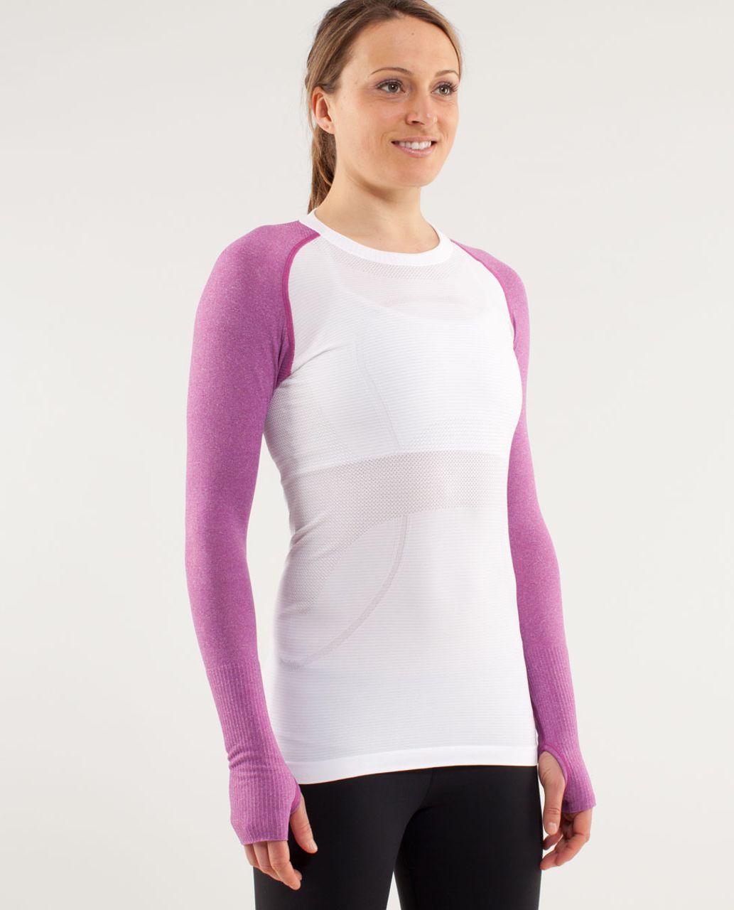 Lululemon Run:  Swiftly Tech Long Sleeve - White /  Ultra Violet