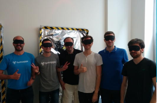 LumApps team blindfolded awaiting their fate