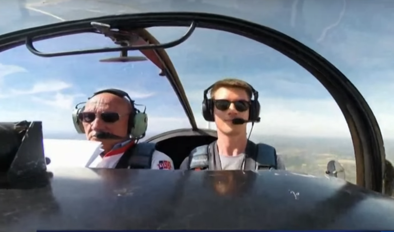 Amaury and instructor in the cockpit
