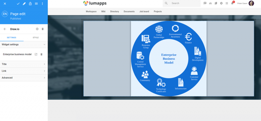 Display draw.io file in Lumapps page