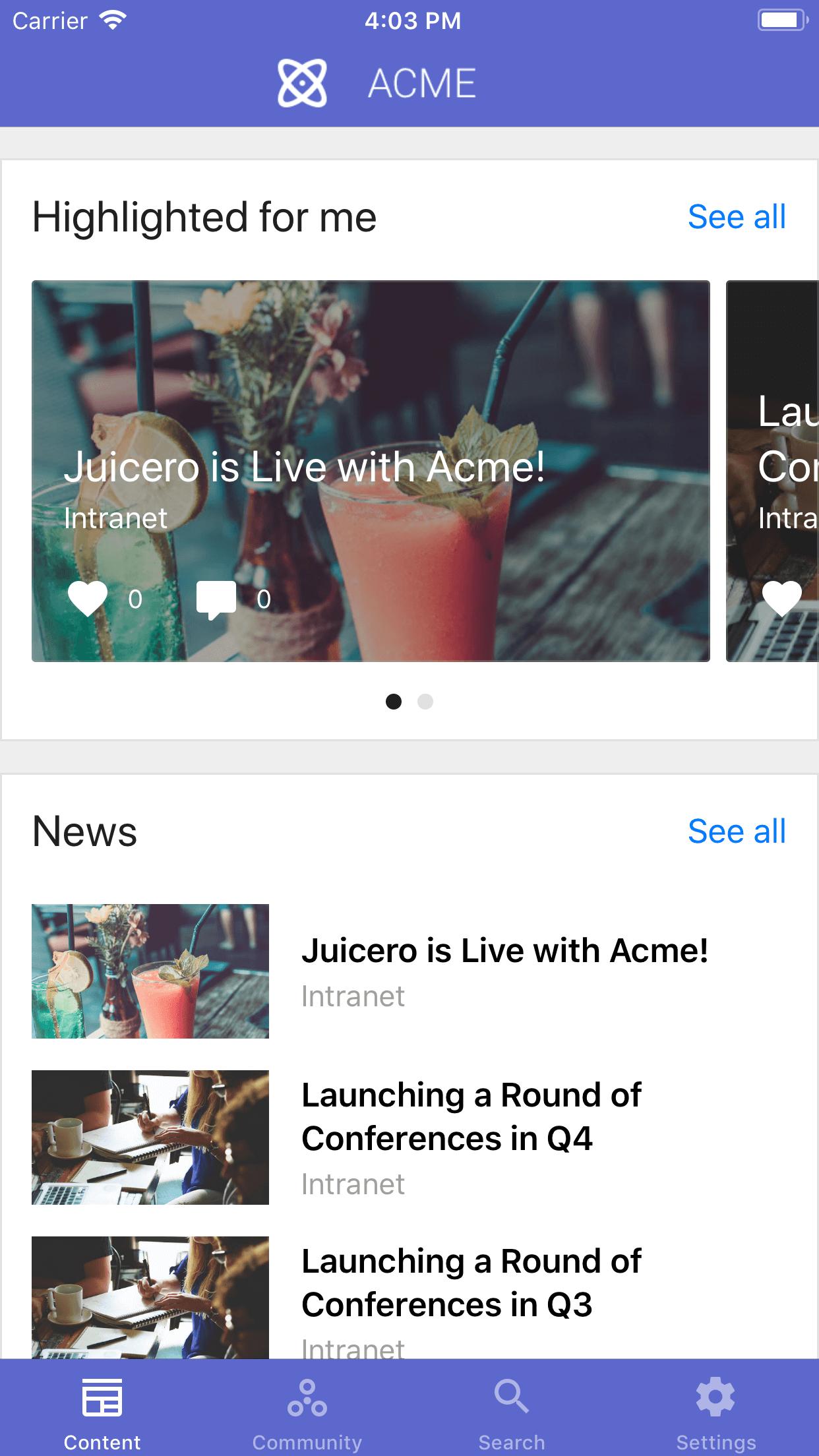 customized news streams iOS