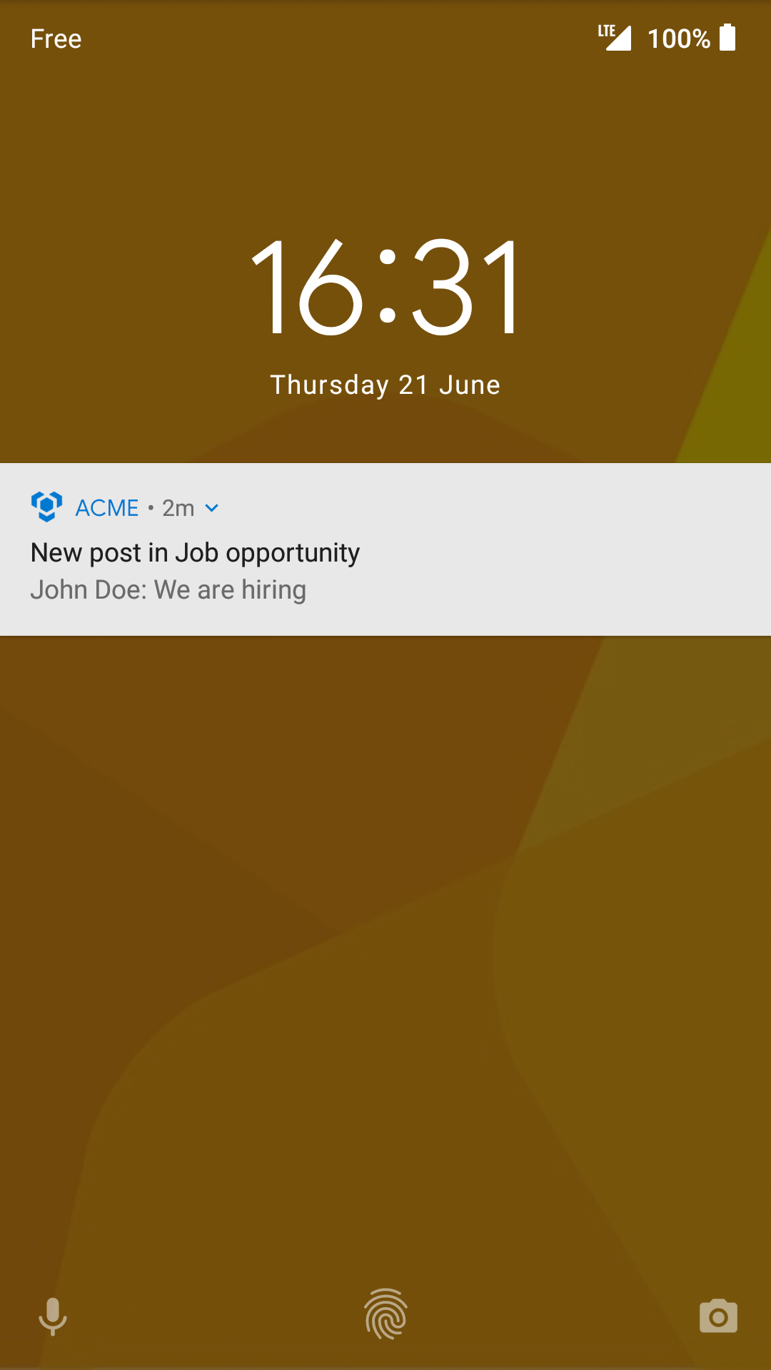 Notifications locked screen Android
