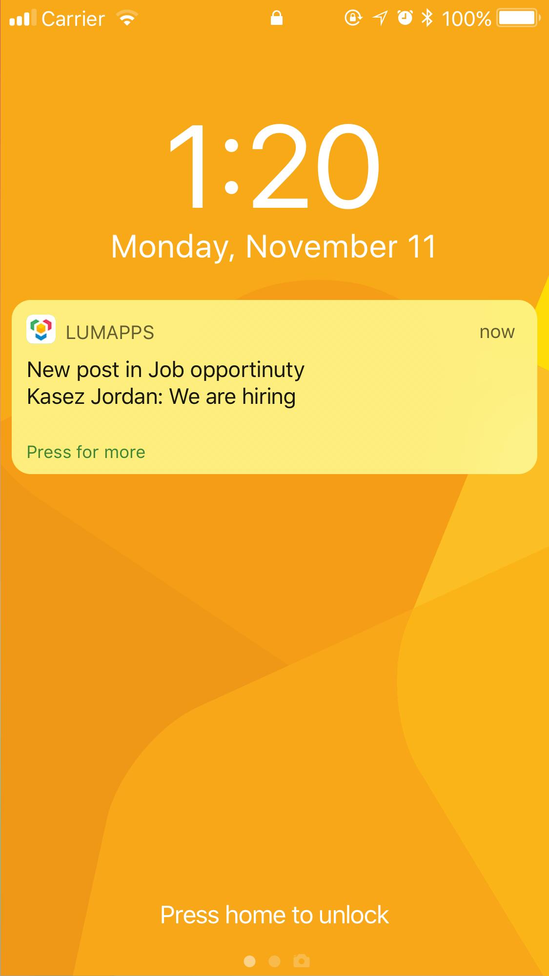 notification on locked screen iOS