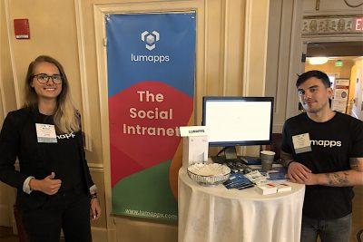 Karolina and Vincent at LumApps booth