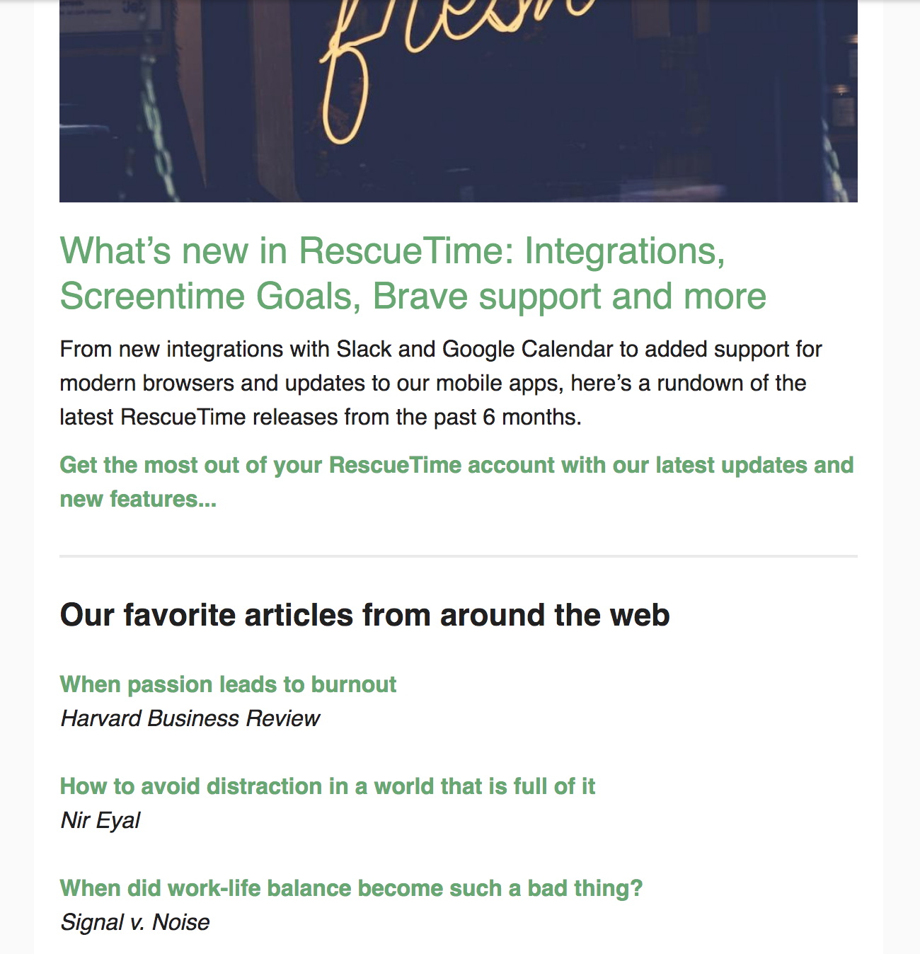 curated content in Rescuretime Newsletter