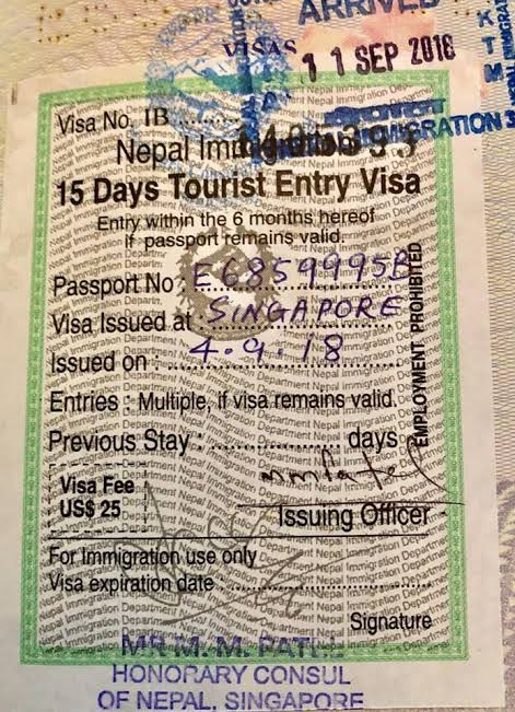 Nepal Visa 15 Days Tourist Entry Visa