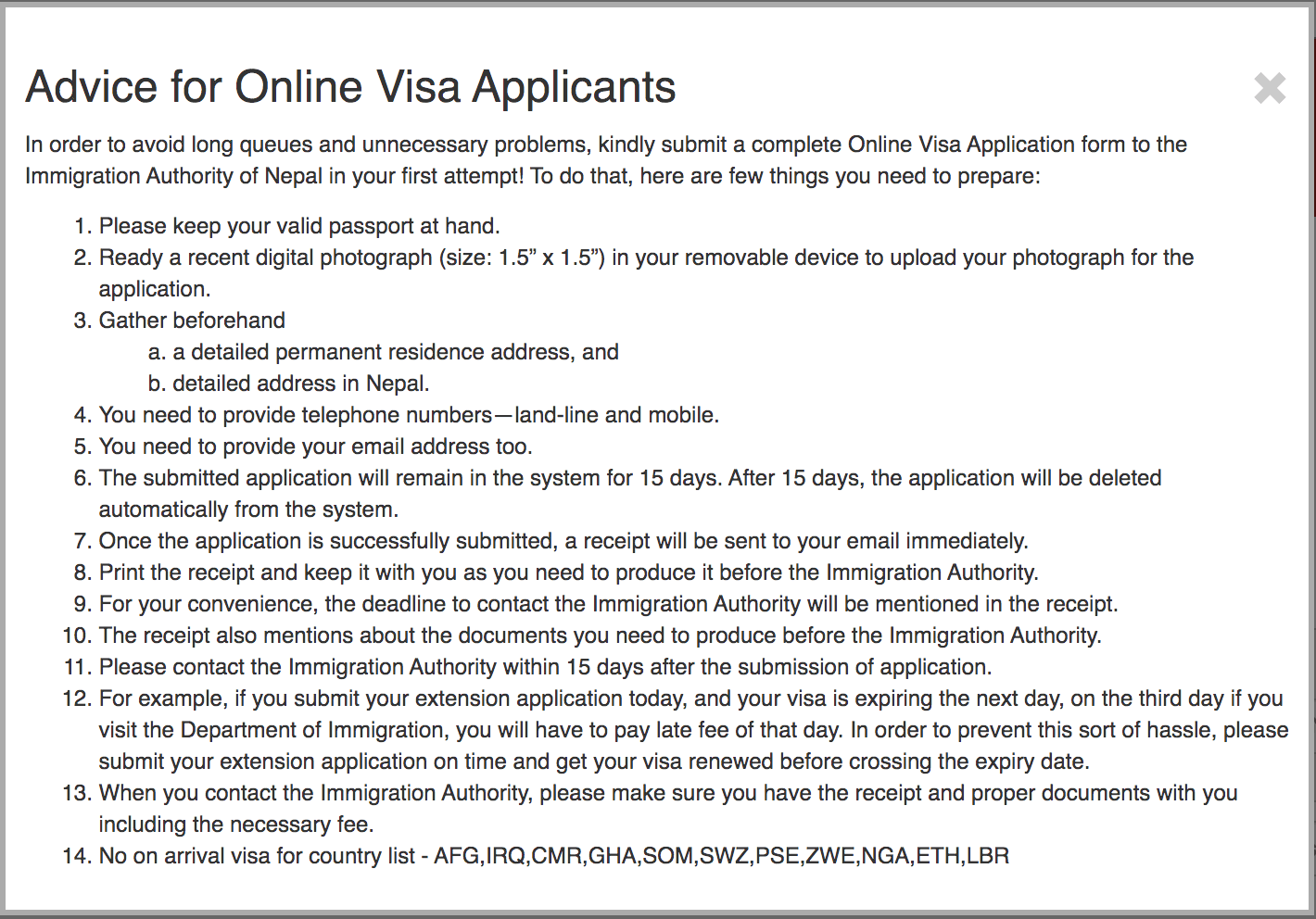 Nepal Visa Online Application Form Requirements