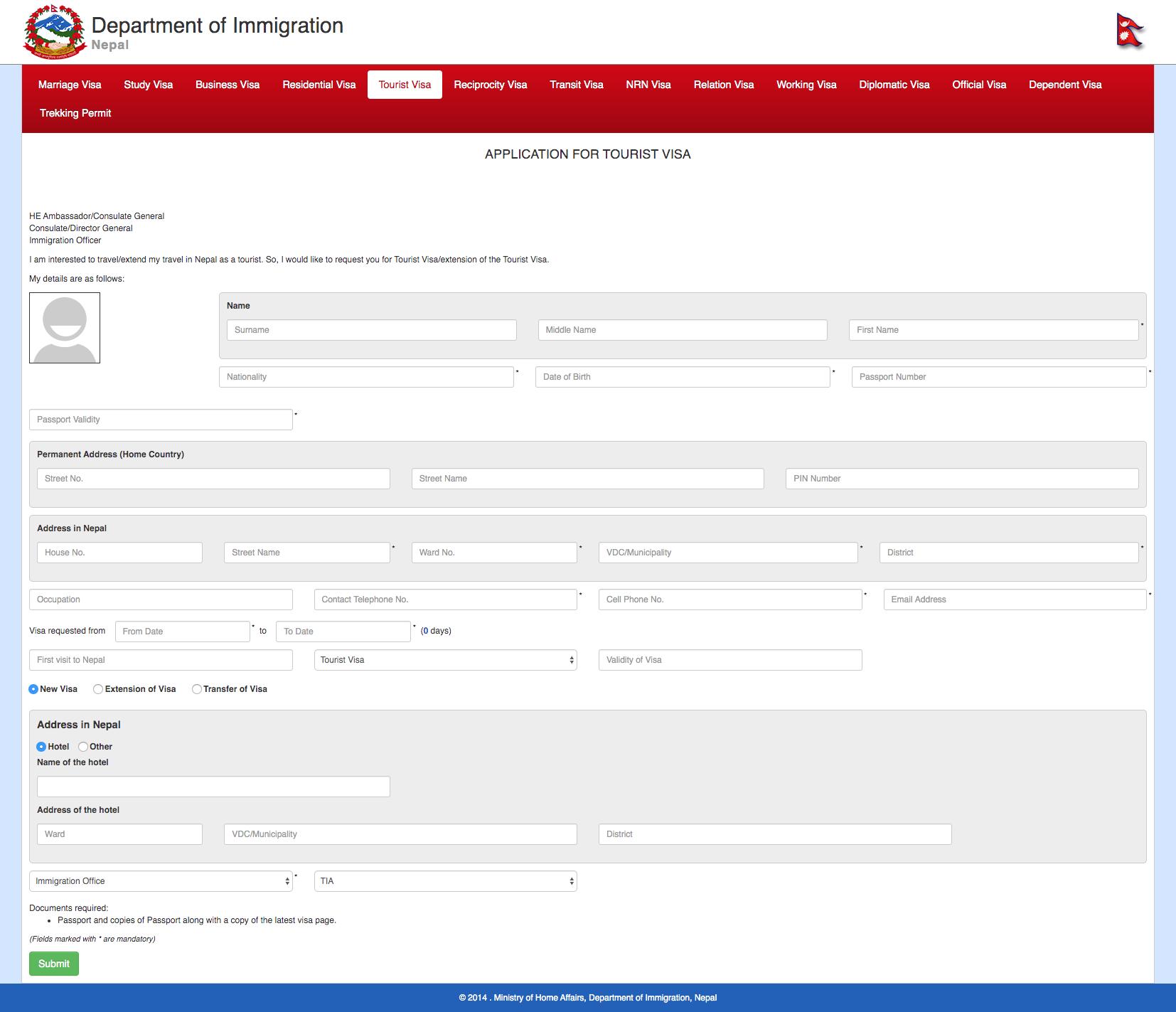Nepal Visa Online Application Form