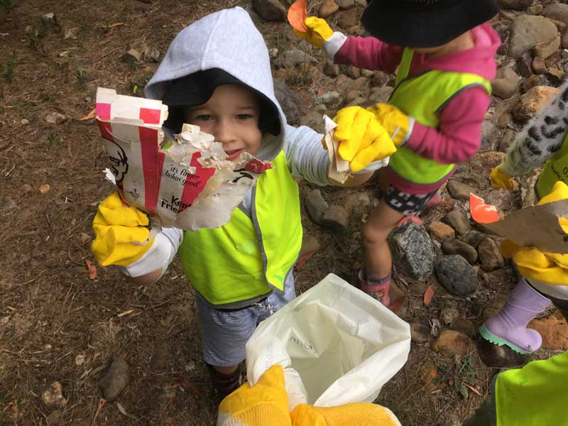 Responsible nature play involves occasional clean ups for active learners.