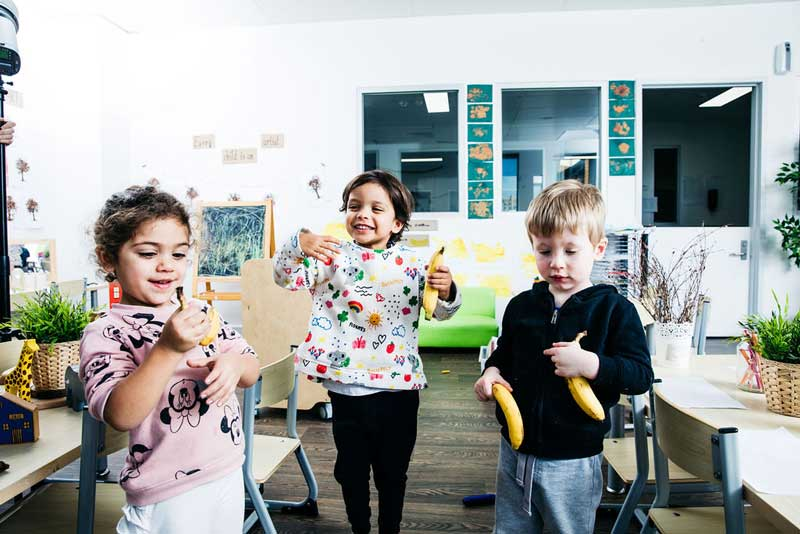 Children practice their non-verbal communication skills such as facial expressions.