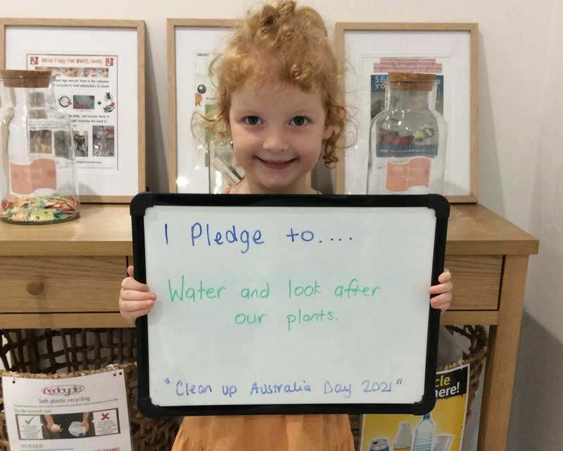Child makes a pledge for Clean Up Australia Day, an adaptable activity to celebrate Earth Day.