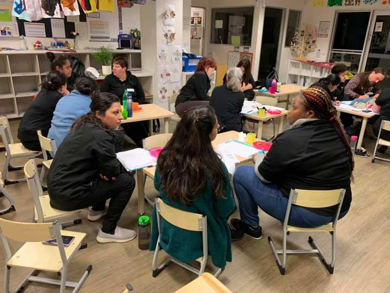 Educators unpacking their education program and evaluating professional achievement.