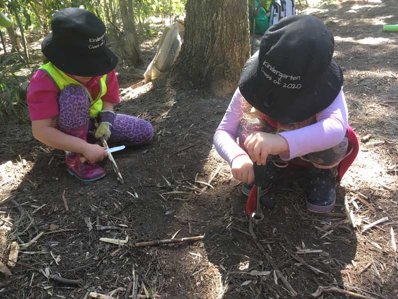 Children participate in outdoor learning experiences.