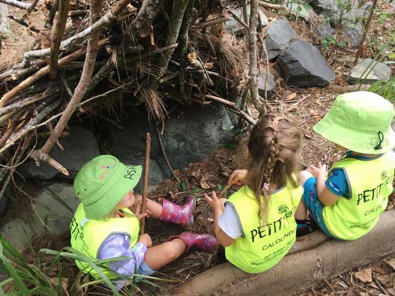 Children in the Bush Kindy program collaborate in nature.