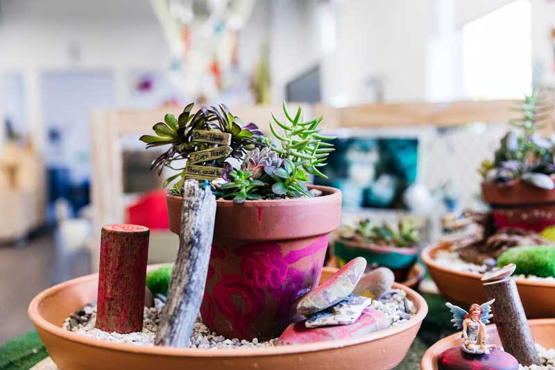 Repurposed garden pots with succulents are popular homemade Father's Day gifts.