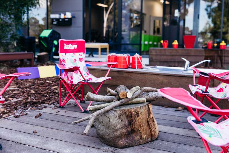 Outdoor environments set up to roleplay camping with toddlers.