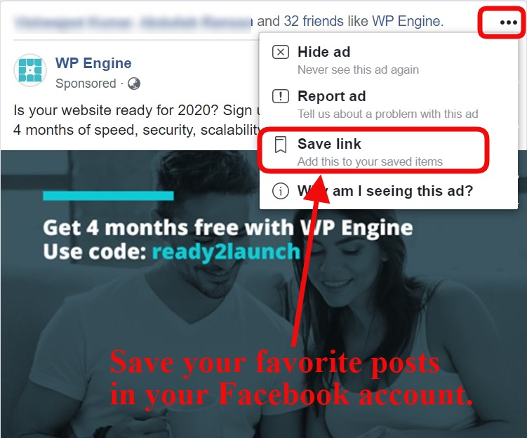 save posts on fb account