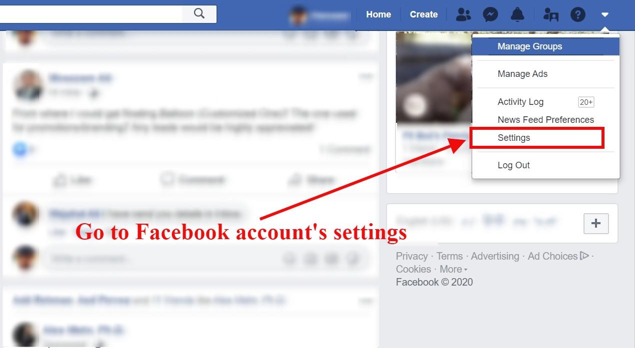 fb account settings