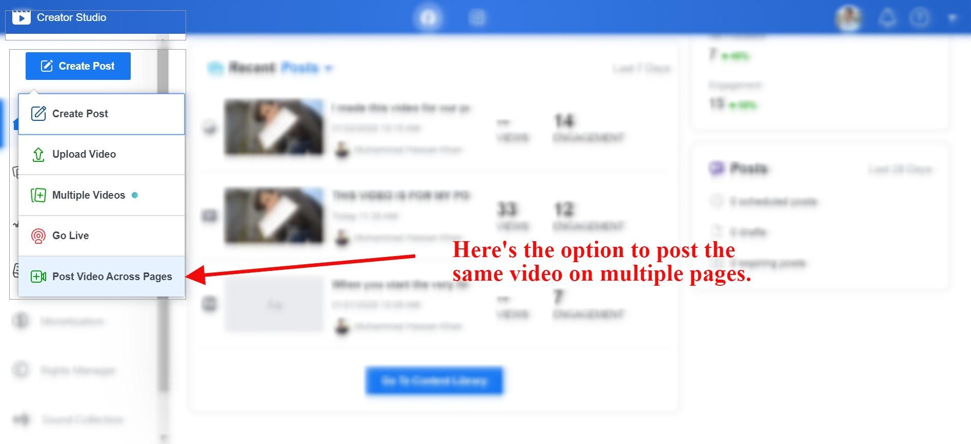 app contentstudio post video