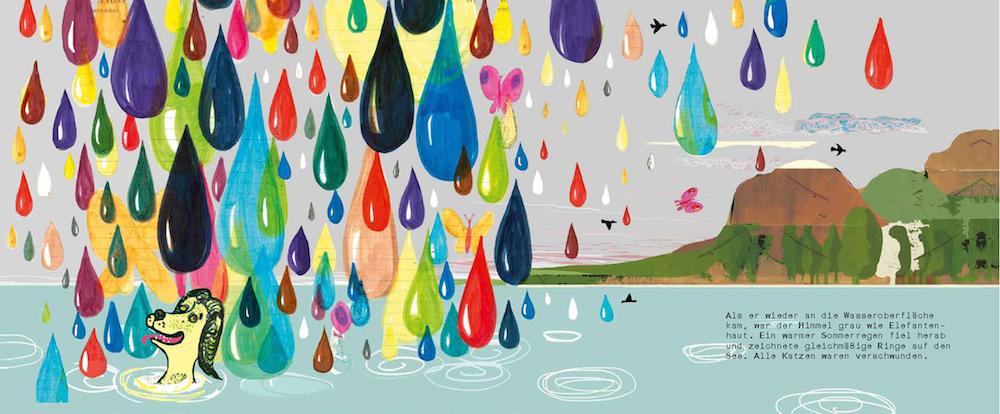 Der Hund taucht auf und schaut um sich. Hat jemand schon mal schönere Regentropfen gesehen?