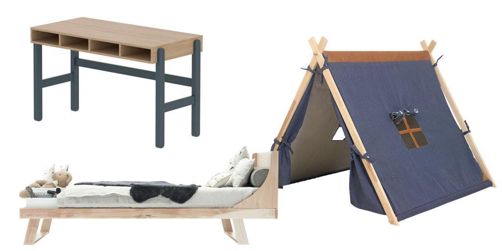 Schreibtisch, Bett und Spielzelt