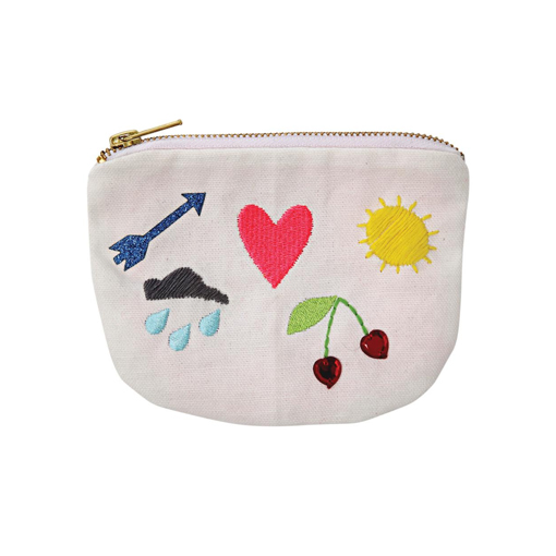 Leinentäschchen Aufdruck genäht Portemonnaie kleine Tasche Reißverschluss