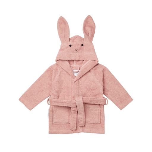 Bademantelrabbit Hase Liewood baden abtrocknen rosa Kinder Bademantel einkuscheln