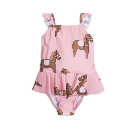 Badeanzug Kinder Mini Rodini Pferd Print baden schwimmen Sonne Strand Meer Sommer Kindermode Kinderbadeanzug pink