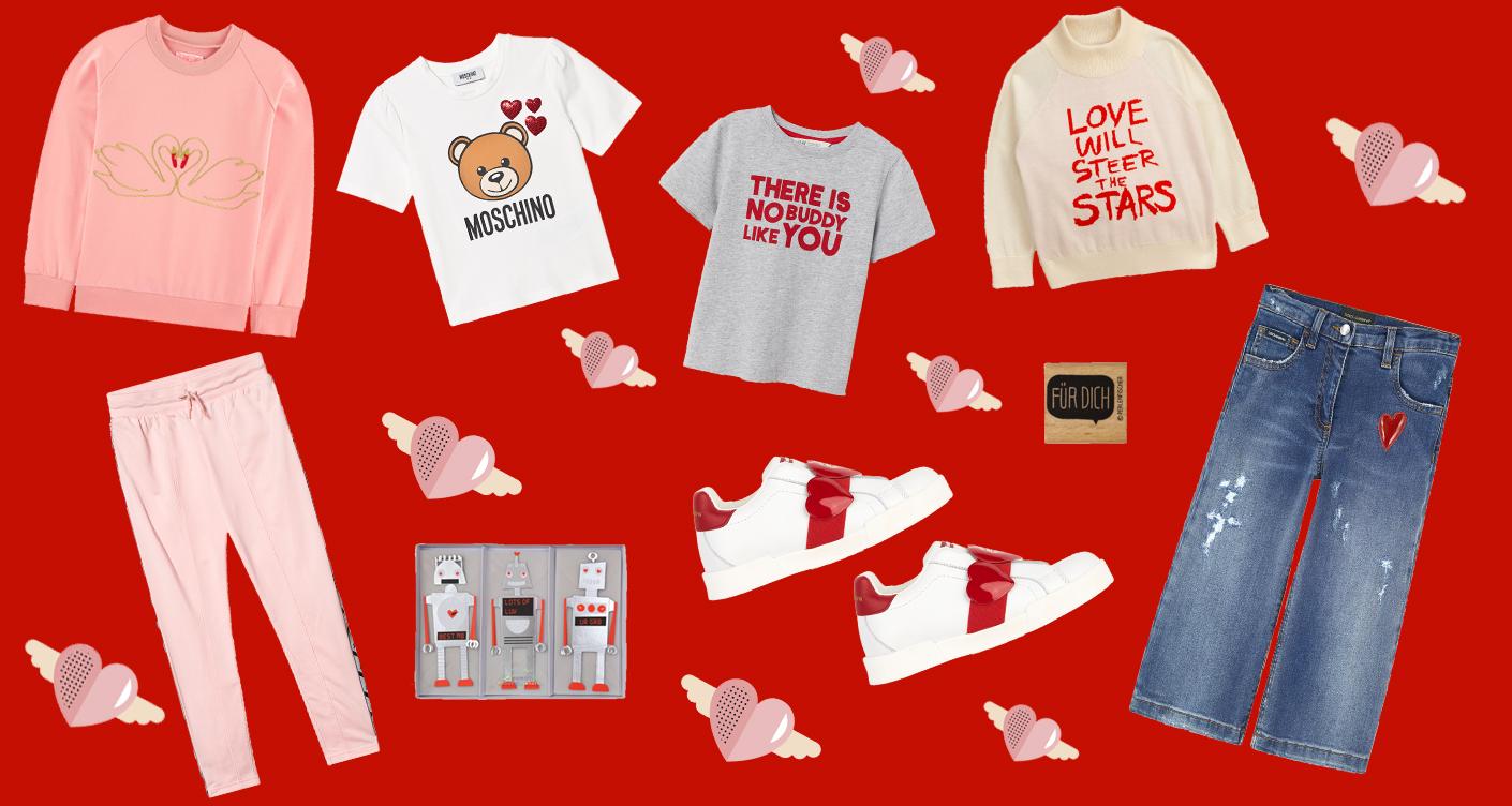 Valentinstag: Rosarote Kindermode und Accessoires mit Herzen