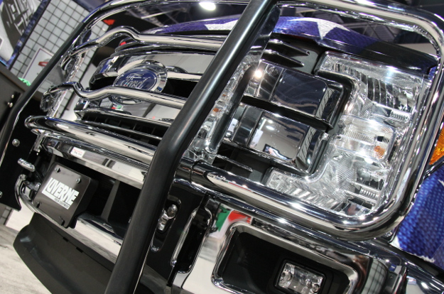 Ford F250 Super Duty with chrome steel grille guard by LUVERNE