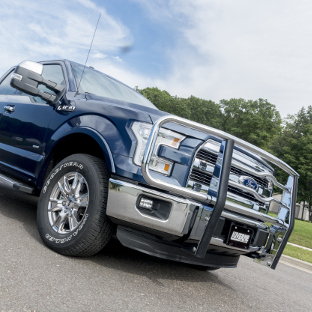 LUVERNE 2 inch grille guard on a blue 2016 Ford F150