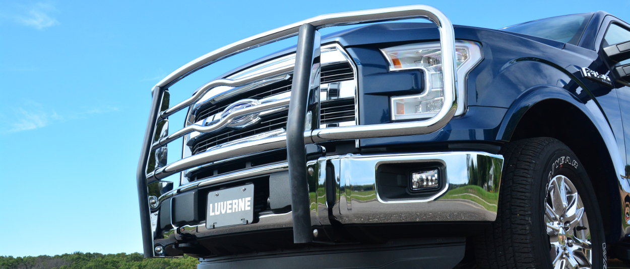 LUVERNE 2 inch grille guard on a blue Ford F150