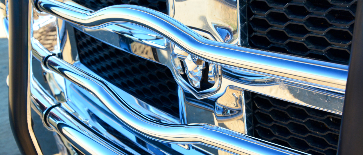 LUVERNE grille guard with Ram truck logo reveal
