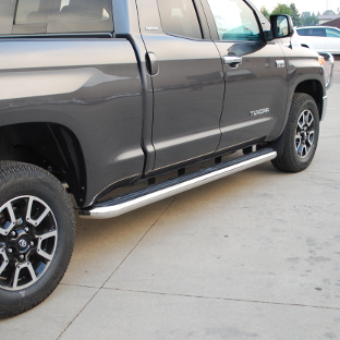 Grey 2014 Toyota Tundra with LUVERNE MegaStep® running boards wheel-to-wheel