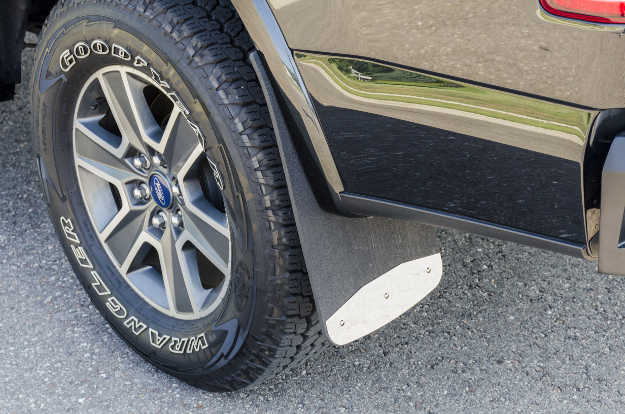 LUVERNE Textured Rubber Mud Guards on black Ford truck