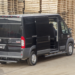 2017 Ram ProMaster 2500 with LUVERNE O-Mega II side steps and cargo van accessories